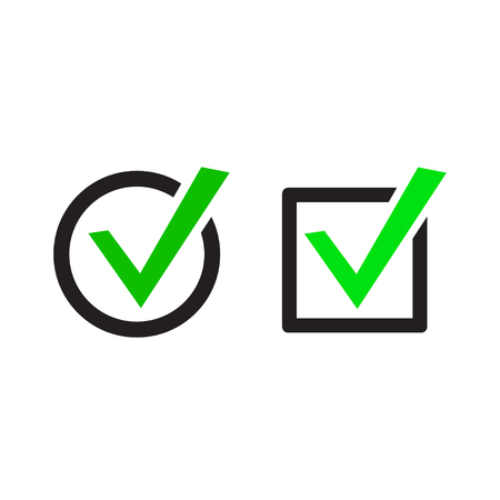 passed: Set of buttons with check marks or ticks. checkbox. Web and mobile applications. acceptance positive passed voting. Green. flat design Illustration