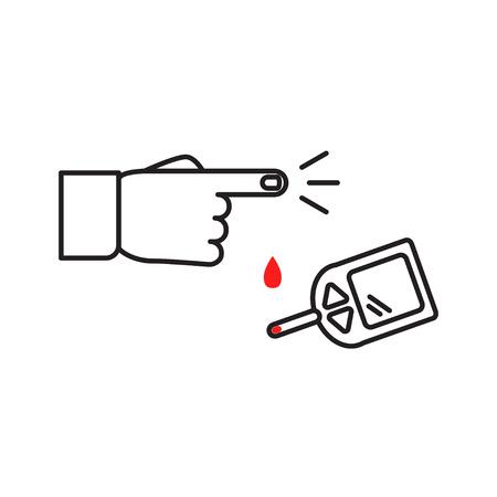 glucometer: Home glucometer with hand Illustration