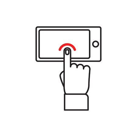 tabletpc: Touch screen Smartphone sign icon. Hand pointer symbol. Flat Illustration