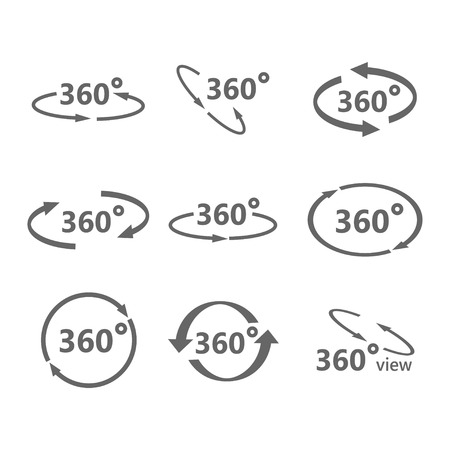 panoramas: 360 degree views of vector circle icons isolated from the background. Signs with arrows to indicate the rotation or panoramas to 360 degrees.