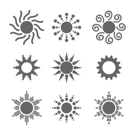 Sun icono del vector de la explosión de color blanco ajustado sol sol sobre fondo blanco. luz solar elemento plano aislado. Diseño de la ilustración símbolo de tiempo para la web y de aplicaciones.