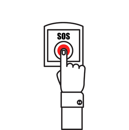 call for help: SOS button with hand vector illustration in flat style. Female finger presses the red button SOS. The concept of a request, call for help.