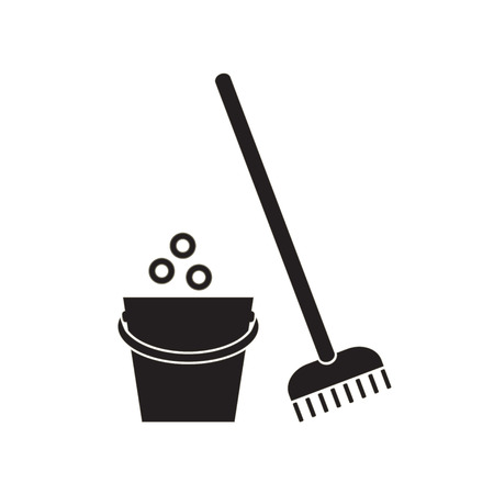 Bucket and mop on white background. Cleaning tools icon. Vector illustration