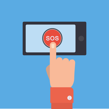 call for help: SOS button with hand vector illustration in flat style. Finger presses the red button SOS on the smartphone. The concept of a request, call for help.