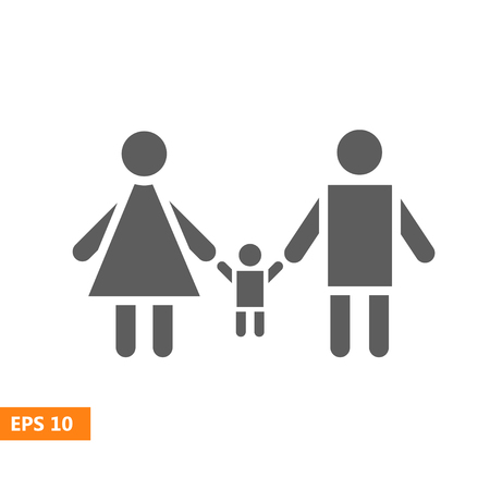 Family Icon in trendy flat style isolated on white background. Parents with child symbol for your web site design, logo, app, UI. Vector illustration, EPS10.