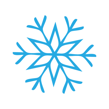 Snowflake Icon graphic. Blue snowflake on white background. Vector illustration. sign line vector icon. Thin line icon.