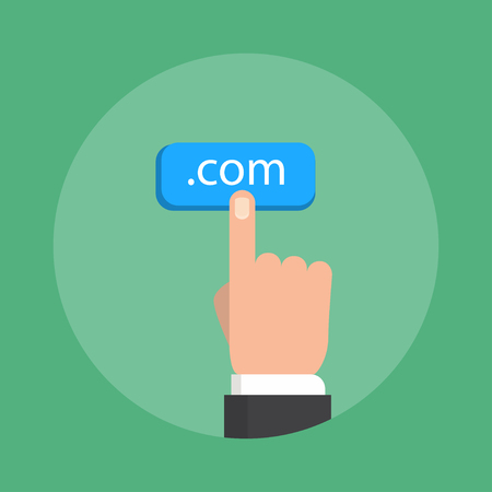 domain name: Domain name concept vector illustration. Flat style of illustration. Choosing commercial domain name and web hosting or search domain name.