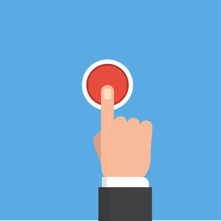 button: Pressing button. Finger on red button. Push hand on the button. Flat design.