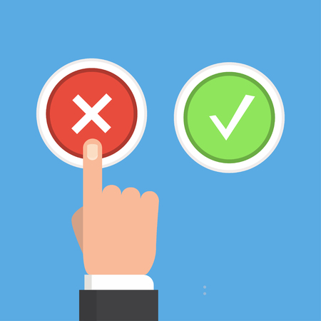 reaches: Yes or no vector illustration in flat style. Men s hand reaches for the right and wrong buttons. Colored buttons with a cross and tick.The concept of choice, the right choice and a wrong decision.