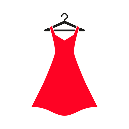 Woman red dress on hanger. Dress Icon Illustration