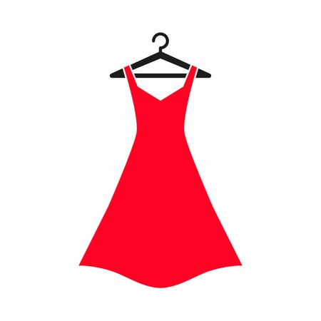 Kobieta, czerwona sukienka na wieszaku. sukienka Ikona