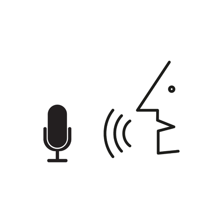 Person speaks into the microphone. Speech recognition process Stok Fotoğraf