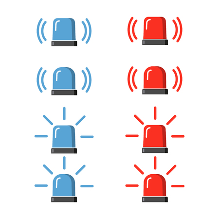 flashers: Police flasher, siren vector set. Red and blue sirens, flashers ambulances. Icons for alarm or emergency cases. Collection of alert flashing lights in a flat style.