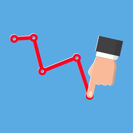 Decrease graph. Businessman hand down profit business chart. Illustration
