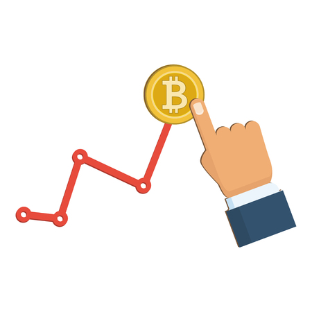 Golden bitcoin and growing chart on the white background. Eps 10 vector file.