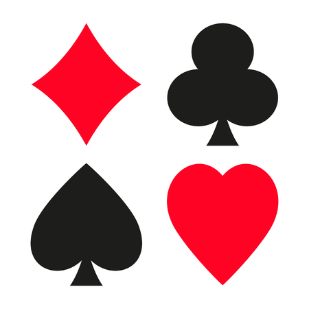 Set of vector symbols of playing cards suit. Çizim