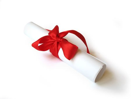 paper document with red ribbon
