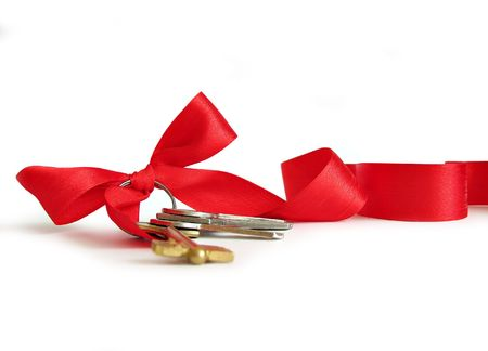 keys decorated by red ribbon