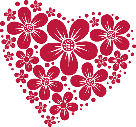 red heart silhouette from floral pattern
