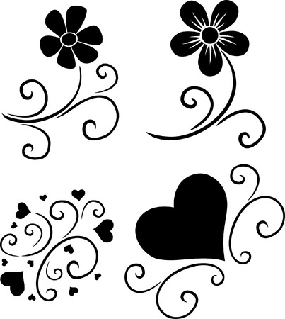 pattern of flowers and hearts vector silhouette Çizim