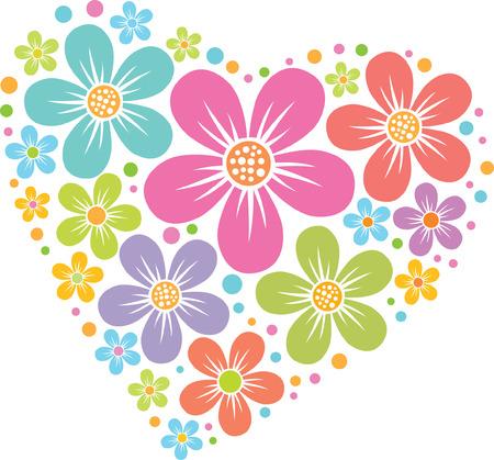 birthday flowers: vector hart van bloemen patroon, gekleurd silhouet