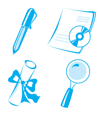 vector icons set: lupa, document, diploma, pen, disk