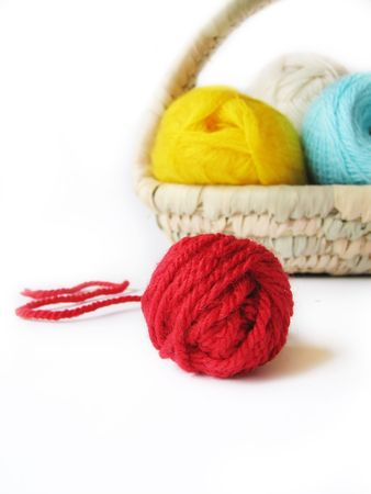 hank: hank of the yarn for knitting in basket, focus on red hank, isolated