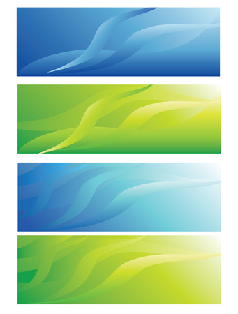 abstract header backgrounds, blue and green vector, illustrations