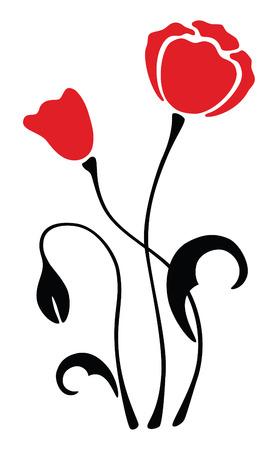 vectors abstract: silueta rojo amapola flor, grabado, ilustraci�n vectorial