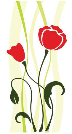 asian tulips: red poppy flower silhouette, pattern, vector illustration