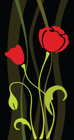 japanese style: poppy flower silhouette, pattern, vector illustration Illustration