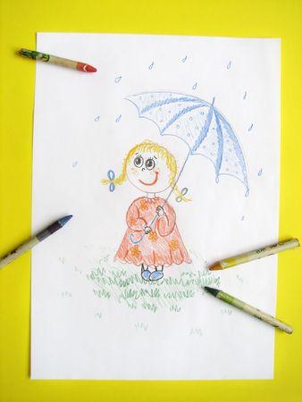 kid girl with umbrella, drawing Stock Photo - 6364184