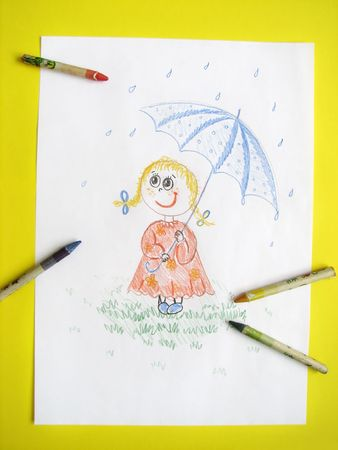 kid girl with umbrella, drawing Stock Photo - 6364184