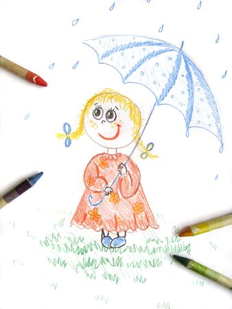 kid girl with umbrella, drawing Stock Photo - 6364186