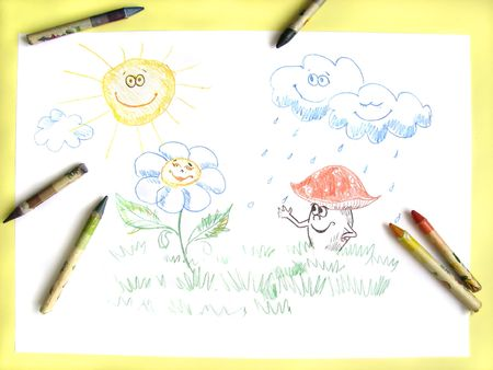 kids pencil drawing of happy sun, clouds, flower and mushroom Stock Photo - 6364185