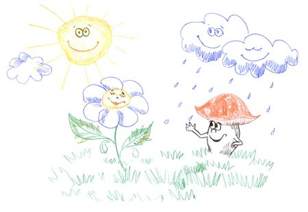 kids pencil drawing of happy sun, clouds, flower and mushroom
