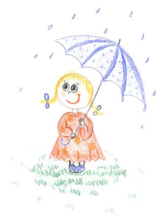 girl with umbrella, kid`s colored pencil drawing   photo