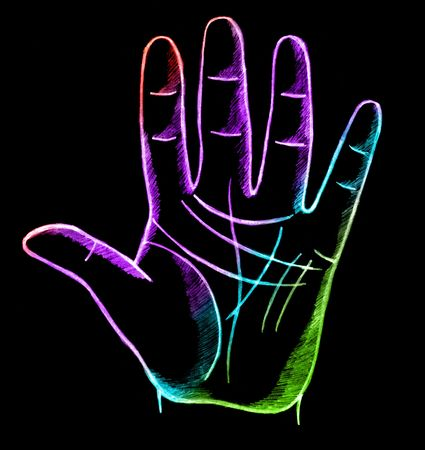 teller: palmistry, fortune telling with lines on hand Stock Photo