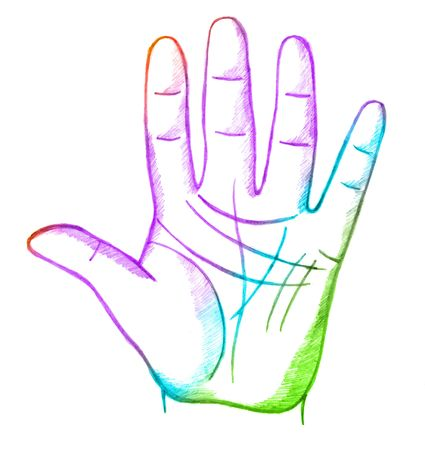 palmistry: tree of life, sketch Stock Photo
