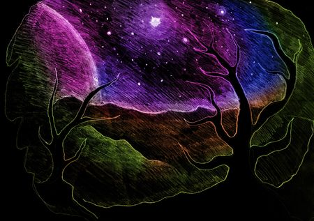 paranormal: Space Fantasy, unknown planets surface drawing, trees silhouettes
