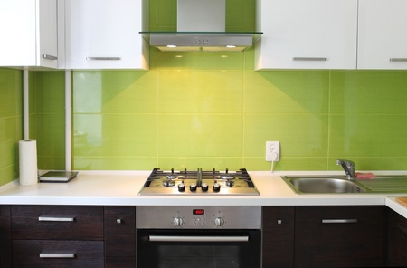 modern domestic Kitchen, stylish interior design photo
