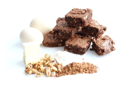 cocoa homemade brownies and ingredients, isolated photo