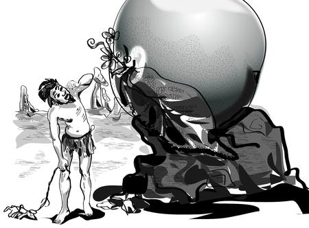 Cave man finds huge fruit Illustration