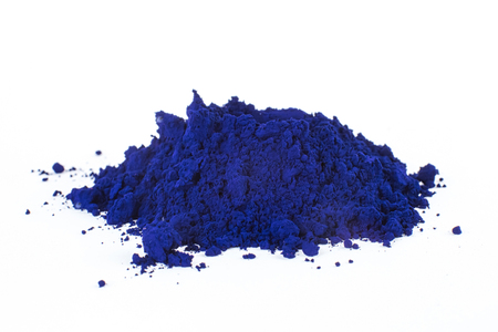 pigment on a white background, blue pigment, prussian blue Stock Photo