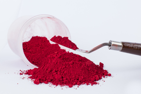 Carmine Naccarat pigment on a white background Stock Photo