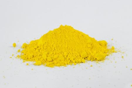 Cadmium Yellow medium pigment on a white background Stock Photo