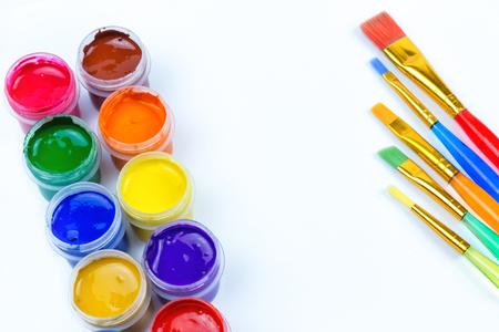 Paints, color brushes, twelve colors on a white background, office, artistic materials, art Foto de archivo