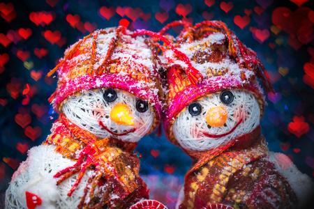 Love snowmen. Snowfall. Love concept. Valentines Day Greeting card Imagens