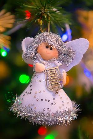 Christmas decoration angel on tree