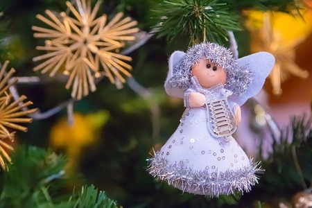Christmas decoration angel on tree